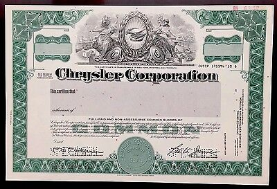 1987 Chrysler Corp. SPECIMEN Stock Certificate - Lee Iacocca Chairman - RARE!!!
