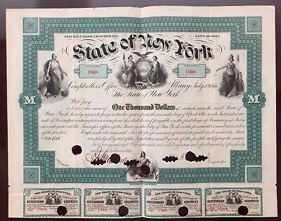 1865 State of New York $1,000 Bearer Bond WITH COUPONS - CIVIL WAR - VERY RARE!