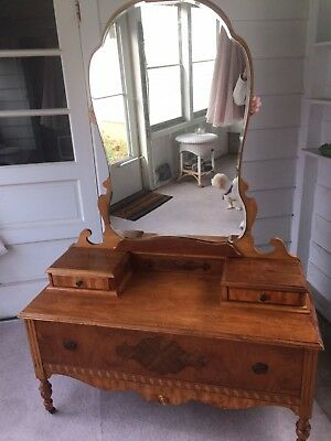 1930's- 1940's Low Dresser With Mirror And Glove Boxes