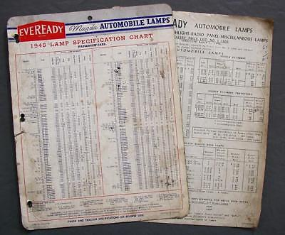 Orig Eveready Mazda Automobile Lamps 1945 Specifications Chart & 1948 Price List
