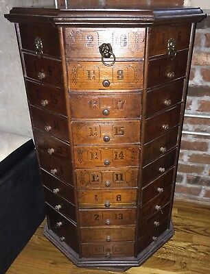 c1900 AMERICAN antique BOLT & SCREW octagonal hardware store cabinet 80 drawer
