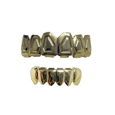 Bling Grillz Top & Bottom Tombstone Teeth Hip hop bling Bling Grillz Set