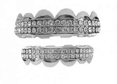 Bling Grillz Top & Bottom Double Deck of Ice Hiphop Bling Bling Grillz Set