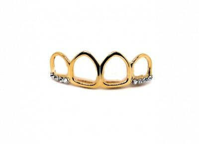 Bling Grillz Gold Plated Top Row 4 Open Faced Teeth Hiphop Bling Bling Grillz