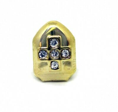 Single Grillzz Cross of Ice hiphop bling Gold Plated Tooth Clip