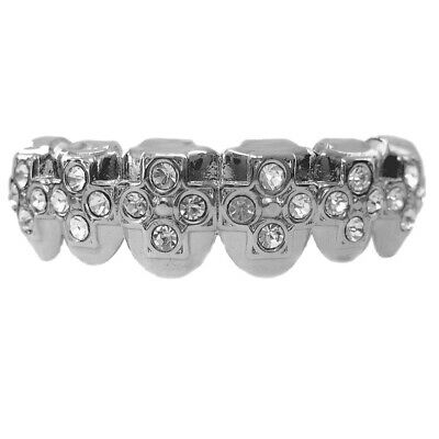 Bling Grillz Faux Diamond Cross Bottom Row Hiphop Bling Bling Grillz