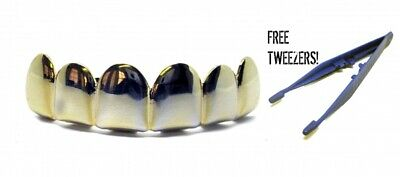 Bling Grillz Plain Gold Plated Top Row Hiphop Bling Bling Grillz