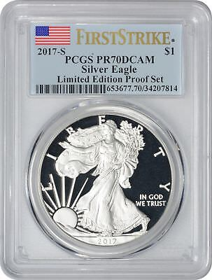2017-S Silver Eagle Dollar PR70DCAM PCGS Limited Edition Proof Set FS Flag