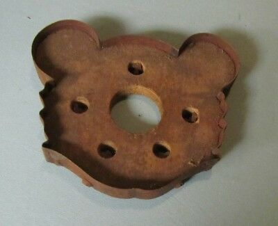 """Vintage Primitive Bolted Metal and Wood 6"""" Crafting Mold Teddy Bear Head"""