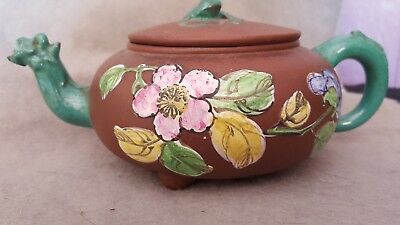 Early to Mid 20th Century Chinese Yixing Clay Teapot Enameled Round Signed