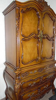 Antique  Country French LouisXV Carved Walnut  Five Piece  King Bedroom Set