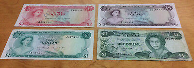 $5.50 Face Value Bahamas Currency Notes ~ Neat Collection 4-Different Notes