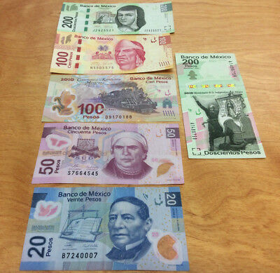 670 Pesos Face Value Mexican Currency Notes ~ Neat Collection 6-Different Notes