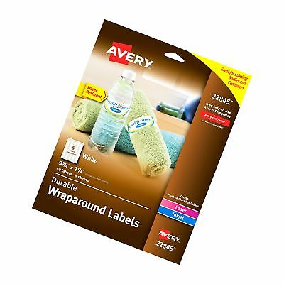 Avery Durable Waterproof Wraparound Water Bottle Labels, 1-1/4 x 9-3/4 Inches...