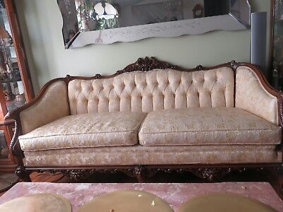 "Antique 72"" Mahagony Carved Phoenix, Creatures & Northwind Faces, Claw Feet sofa"