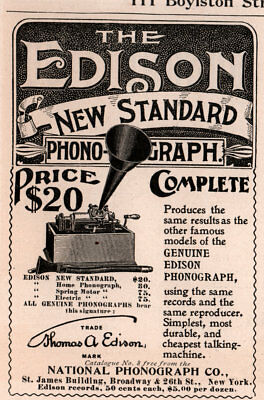 AD LOT OF 3 1898 - 1900 ADS  edison new standard phonograph price complete