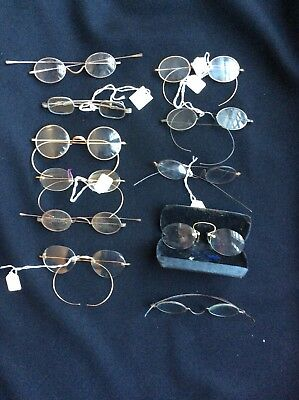 Lot  Of ANTIQUE READING eye GLASSES & PINCE NEZ  spectacles gold and silver case