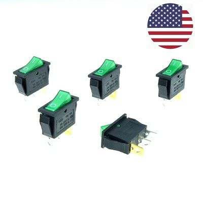 5pcs KCD3 GREEN Button On-Off 3Pin DPST Boat Car Rocker Switch 15 20A 250 125VAC