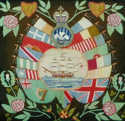 VICTORIAN MARITIME WOOLWORK SAMPLER CELEBRATING MILITARY FORCES WAR Flags & Ship