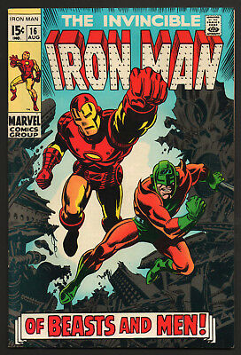 IRON MAN #16 VF+ Marvel 1969 BEASTS AND MEN New Collection SILVER AGE Classic