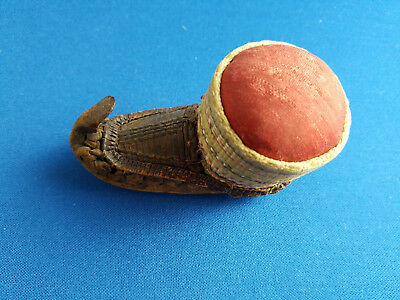 Rare antique C 1890 from Turkey leather shoe and weaving pin cushion