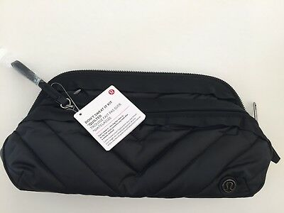 NWT Lululemon Don't Sweat it Kit Quilted Black Cosmetic Travel Clutch Bag NEW