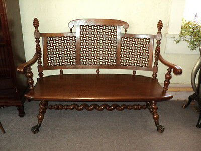 Merklen Brothers Barley Twist Oak Hall Bench, 1885 to 1890