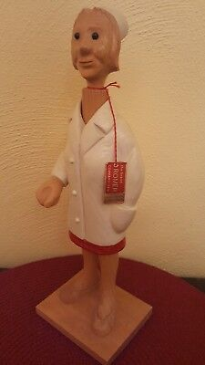 ROMER Italy 1970's Wooden Nurse Hand Carved Wooden Figure Sculpture