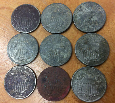 Lot Of 9-Shield Nickel's  ~ .99 Cent Starting Bid And No Reserve!