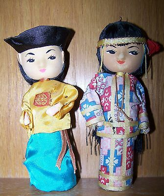 2 Vintage Oriental Japanese Dolls, Clothed --- Almost 6 Inches High