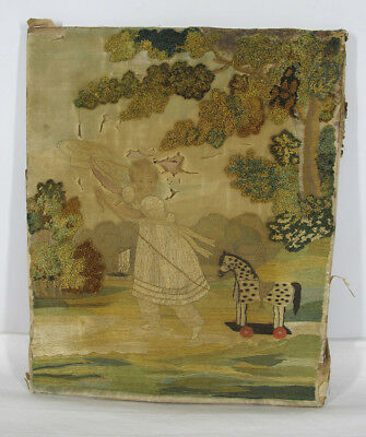 Mid 19th C Antique Folk Art Child & Horse Pull Toy Silk Embroidery Painting yqz