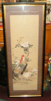 Antique Chinese Japanese Painting Of Rooster & Hen-Chicken Painting-Signed