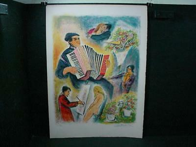 "NobleSpirit  {3970} Valuable Signed/Numbered Ira Moskowitz ""The Accordionist"""