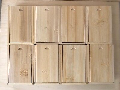 Wood gift / storage / jewelry / wedding favor sliding lid boxes - 8 count
