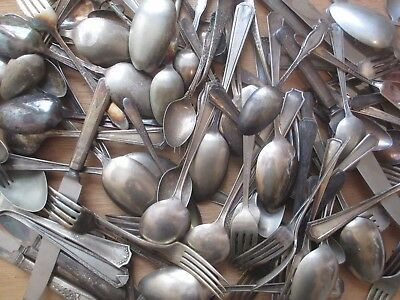 Large lot 160+ pieces assorted Vintage silverware silverplated