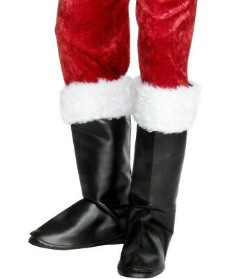 Adult Santa Claus Boot Shoe Covers Black Father Christmas Fancy Dress Costume