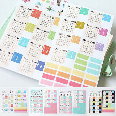 2018 Calendar Stickers 2PCS Notebook Monthly Category Planner Note Index Label