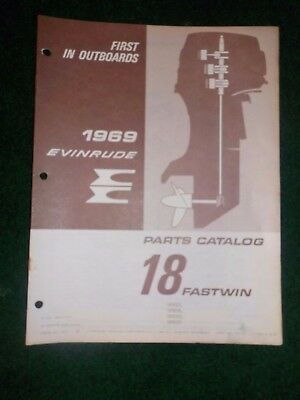 1969 OMC Evinrude Outboard Parts Catalog Manual 18 HP Fastwin Final Edition