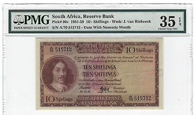 P-90c 1951 10 Shillings, South Africa, Reserve Bank, PMG 35EPQ