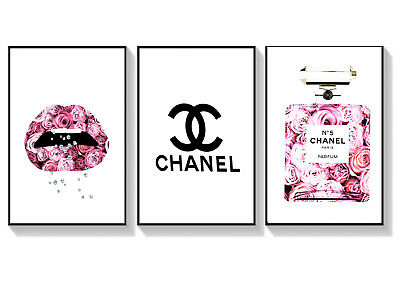 Chanel Print Set - 3 Prints  -   A4 - A3 - 8 x 10  Home Decor Wall Prints
