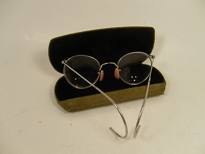 Vintage 1930's FUL VUE Glasses Eyeglasses w/ Brown Case Silver Tone Wire Frame