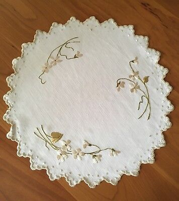 Antique Victorian Society Silk Embroidery Doily White Linen Flowers Scallop Edge