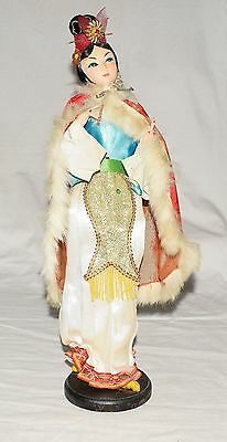 Vintage Chinese Peking Silk Lady Doll with Red Brocade Rabbit Trim Cape on Stand