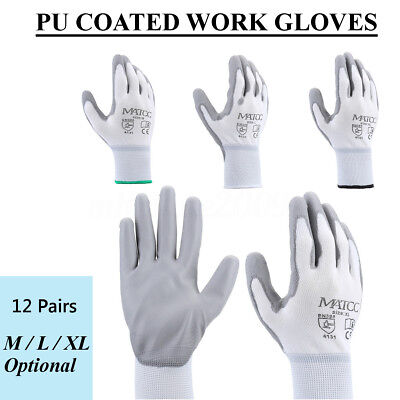 12 Pairs Nylon PU Safety Coating Work Gloves Garden Builders Grip Protect M/L/XL