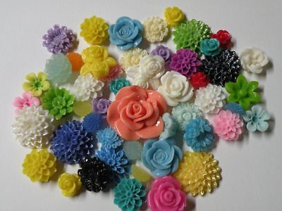 50 or 100 Flatback Resin Flower Cabochons Mix for Jewelry Crafting Embellishment