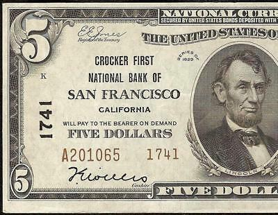 1929 $5 Dollar Bill Crocker First National Bank Note California Currency 1741 Au