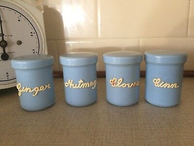 Vintage Retro Nally Spice Canisters Blue