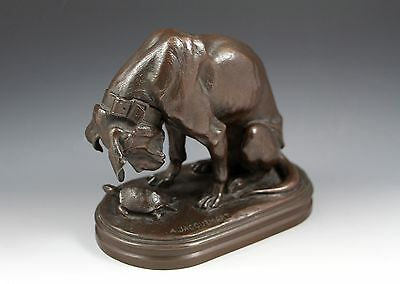 Antique French Bronze Group Jacquemart Bloodhound Tortoise Delafontaine