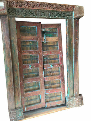 ANTIQUE Haveli DOUBLE DOORS HAND CARVED redBLUE PATINA TEAK DOORS & FRAME 18c