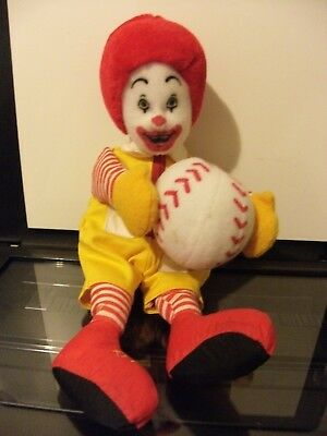 Vintage Ronald McDonald plush w/baseball clown toy beanie bum/feet velcro hands